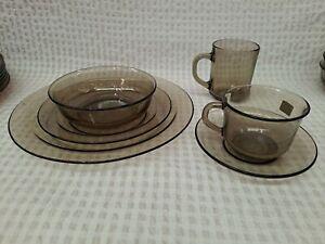 Vintage Retro Arcoroc France Smokey Glass Wear - 48 piece set