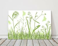 wild flowers and butterflies green & white modern printed framed canvas picture