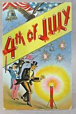1910 Uncle Sam & Top Hat Man lighting firecrackers 4th of July embossed postcard