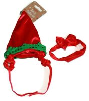 Christmas Pet ELF Hat & Red Collar Set With BOW Dog Puppy Cat Kitten Xmas Gift