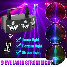 LED Laser Light 9-EYE DMX Projector Strobe DJ Party Disco Stage Lights Remote US