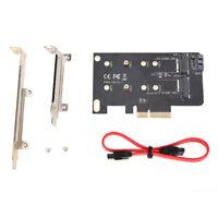Dual Use PCIe X4 to NGFF M.2 NVME PCIe M Key SATA B Key 2230 to 2280 SSD Adapter