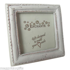 Enchante Vintage Look Small Cream Square Photoframe - Shabby Chic - Wooden