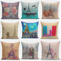 Retro Paris Eiffel Tower Pillow Case Square Home Decor Sofa Seat Cushion Cover