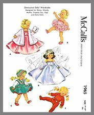 "Vintage McCall's  Doll's Wedding Gown Pjs  Fabric Sew Pattern Sz 9""-10""  # 1965"
