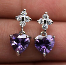 18K White Gold Filled- 7MM Heart Amethyst Topaz Zircon Wedding Gemstone Earrings