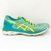 Asics Womens Gel Kayano 23 T696N Blue Yellow Running Shoes Lace Up Size 9