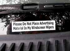 """2 x """"Do Not Place Advertising Material In My Windscreen Wipers"""" car stickers"""