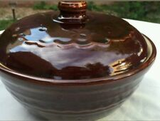 VINTAGE MARCREST STONEWARE DUTCH OVEN DAISY DOT BROWN COVERED CASSEROLE MINT CON