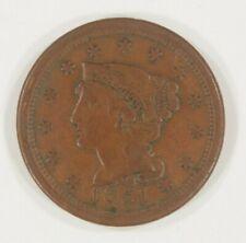1851 Grand Cents En VF État, Tout Marron Couleur, Beau Détail Pour Grade