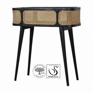Carbon Black Rattan Tray Table