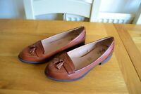 NEW MARKS+SPENCER FOOTGLOVE TAN LEATHER LOAFER SHOES UK 6.5 WIDER FIT RRP £45.00