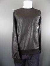 USA Import Men's Quality Leather Look Zip Sweatshirt Black  Large NWT