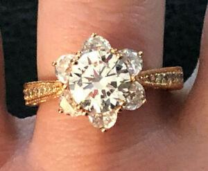 ROSE GOLD Sterling Silver Ring CZ Bella Luce Flower Vanna K JTV Sz 8 5g 925#1351