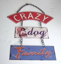 Vintage Style Shabby Chic Plaque Sign 'Crazy Dog Family'