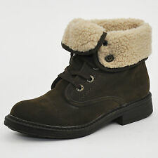 Blowfish Farina SHR Women's Brown Shearling Lined Fold Up/down Ankle BOOTS UK 3