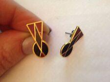 (dt76) resina a forma di lucchetto Romano Rosso Nero Orecchini-Placcato oro