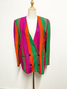 EUC GIORGIO SANT ANGELO Vintage 80s Rainbow Stripe Linen Blend Jacket Blazer
