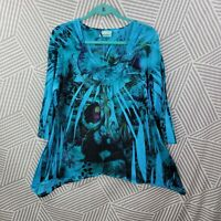 Avenue Plus Size 14/16 1X Shirt Tunic Top pullover Boho Peasant Iris Floral blue