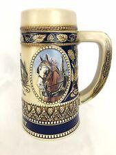 Budweiser Clydesdale Horse Head Beer Stein Bar Mug Blue EUC HG225