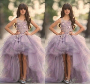 Lavender High Low Girls Pageant Gowns Lace Applique Sleeveless Flower Girl Dress