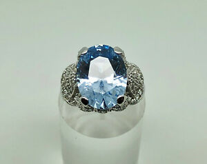Designer ESPO Sterling Silver DQ CZ Simulated Aquamarine Cocktail Ring Size R