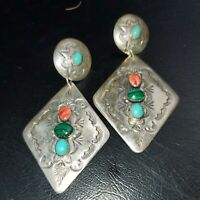 ABRAHAM BEGAY Vintage NAVAJO Sterling Silver MALACHITE TURQUOISE CORAL EARRINGS