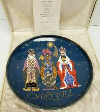 Limoges Faure Gilbert Poillerat Enamel Christmas Plate 1972 Charger 3 Wise Men