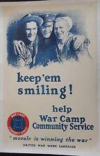Original WWI US Poster Keep Em Smiling Navy USMC Marine Corps Bell Crown EGA