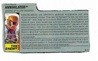 GI Joe 1989 ANNIHILATOR File Card