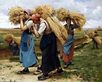 Gleaners (Glaneuses) by French  Julien Dupré. Life Art .  11x14 Print