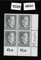 #5035  MNH 1944 stamp block / 1 ZL  Adolph Hitler / Occupied Poland Third Reich
