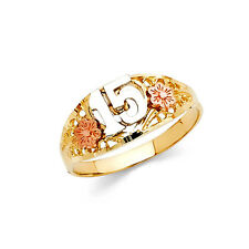 14k Real Tri-color Solid Gold Flower 15 Años Quinceañera Ring Oro Solido Anillo