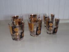 Vintage Black Gold Dollar Coin Old-Fashioned Barware Glasses - Set of Six