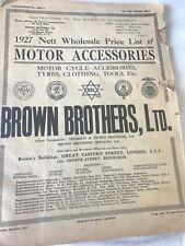 1927 Motor Accessories Trade price list - Brown Brothers Vintage Advertising