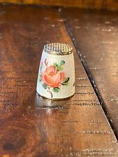 Antique Thimble David Anderson Enamel Floral