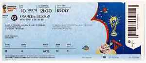 Ticket World Cup WC 2018 FIFA Russia Match 61 Soccer France v Belgium NAMED