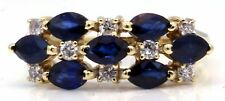 Blue Sapphire Diamond Cocktail Cluster Ring 14k Yellow Gold