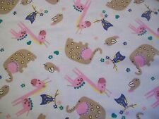 Baby Zoo Friends Snuggle Flannel Fabric - BTY - White Background