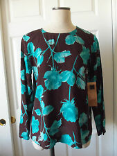Carole Little CITY FLORAL Print Brown Turquoise Rayon Long Sleeve Top Blouse - 8
