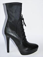 MIU MIU Prada Black Stretch Leather Lace Up Platform Boot Heel Shoe 40 NIB