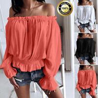 Womens Off Shoulder Solid Casual Long Sleeve Chiffon Ruffled T Shirt Tops Blouse