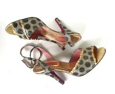 BETSEY JOHNSON size 7.5 gold ruffle POLKA DOT open toe SANDALS heels $129 shoes