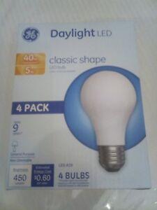 GE 4 PACK DAYLIGHT LED 40W= 5W A19 Classic Shape LED 5000K 450 Lumens