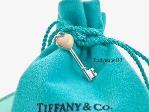 Tiffany & Co. Sterling Silver Pink Enamel Heart Key Charm Pendant w Pouch  2048C