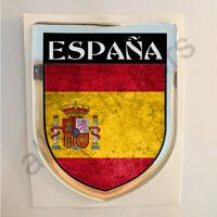 Pegatina España 3D Bandera Grunge Escudo Adhesivo Relieve Resina Pegatinas