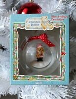 Cherished Teddies Christmas Holiday Glass Ornament Santa 1996 Enesco 282340 NIB