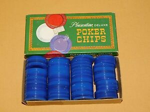 VINTAGE TOY 1963 PACIFIC GAME CO 100 PLEASANTIME DELUXE BLUE PLASTIC POKER CHIPS