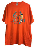 Delta REALTREE Fishing Mens S/S Orange T Shirt Size X-Large 46-48