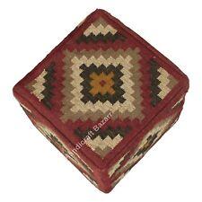 "Kilim Footstool Pouf Case Decorative Wool Jute Ottoman Pouf Cover 18"" Ottoman"